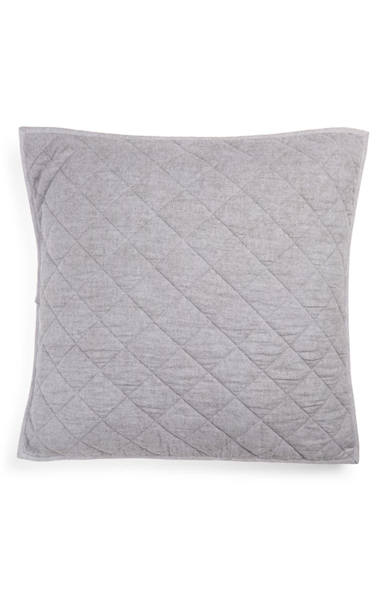 NORDSTROM Reversible Flannel Quilted Sham, Main, color, GREY FROST HEATHER MULTI