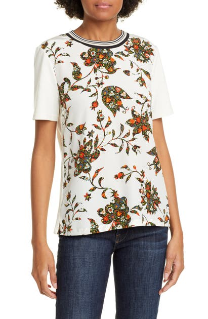 Tory Burch Tops FLORAL PRINT COTTON TEE