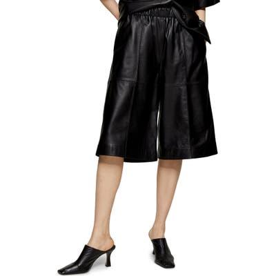 Topshop Boutique Leather Bermuda Shorts, US - Black