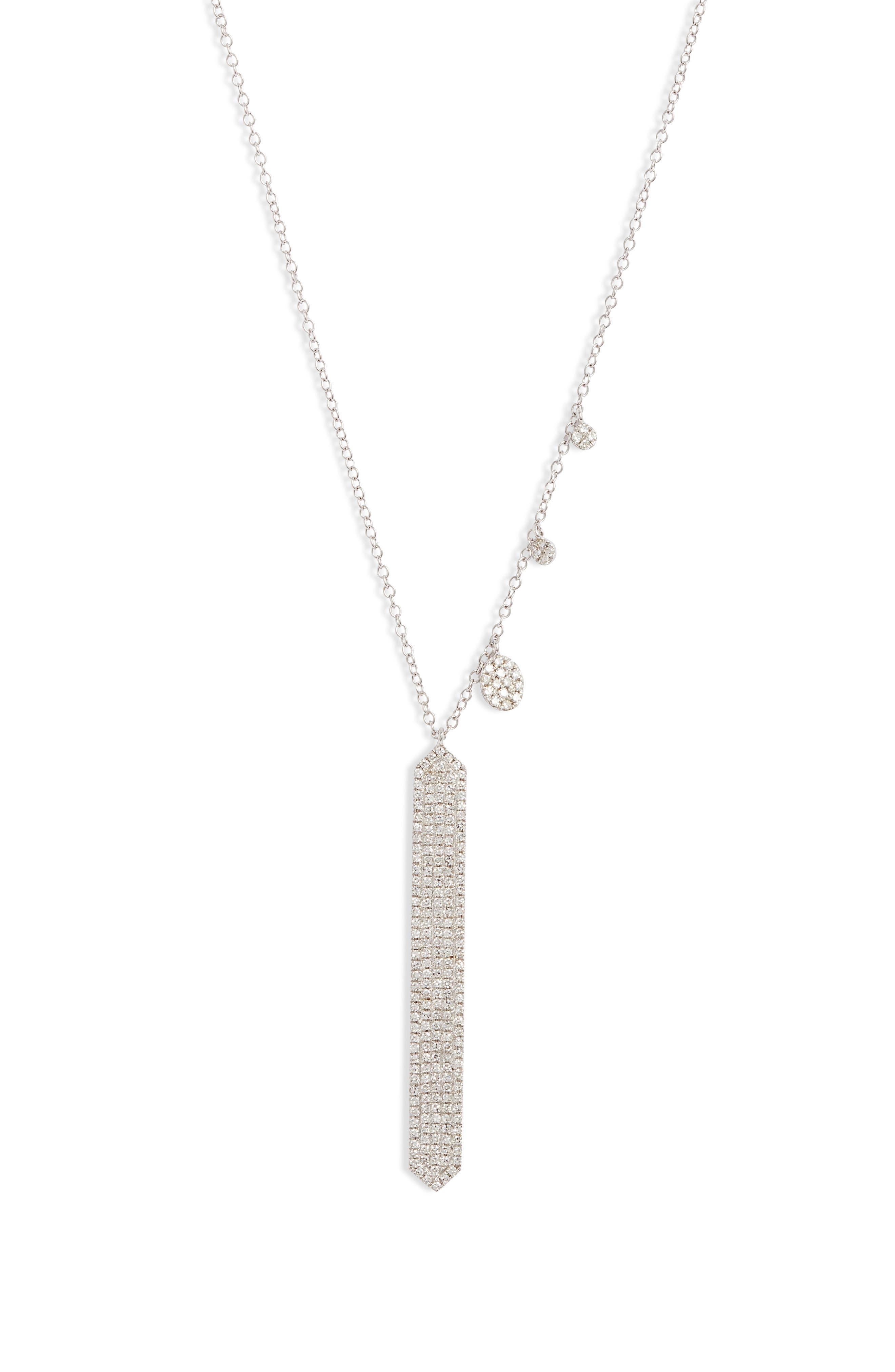 Diamond Pave Bar Pendant Necklace