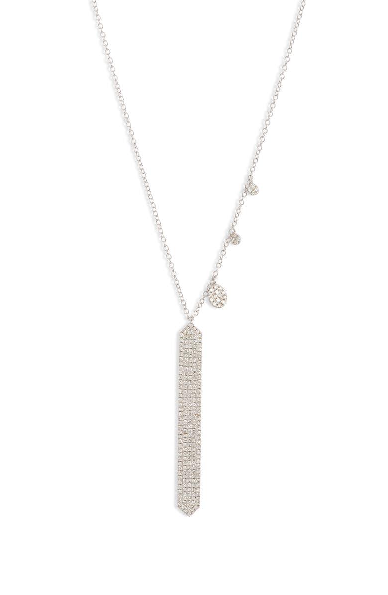 MEIRA T Diamond Pavé Bar Pendant Necklace, Main, color, WHITE GOLD
