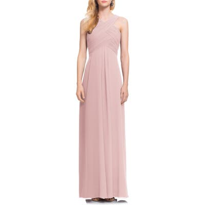 #levkoff Crisscross Bodice Chiffon Gown, Pink