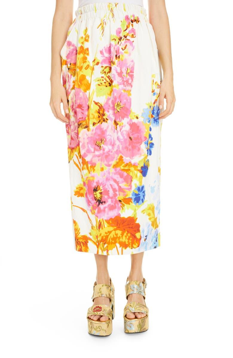DRIES VAN NOTEN Sofya Floral Skirt, Main, color, 100