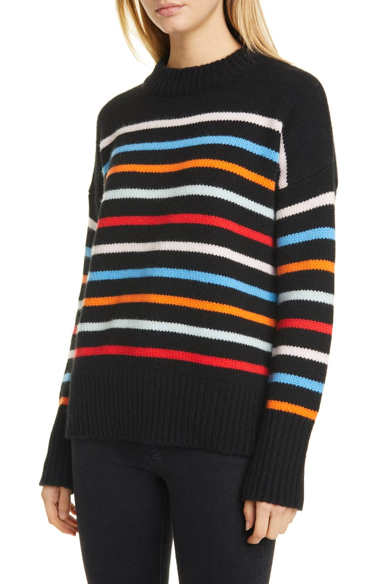 LA LIGNE Marin Wool & Cashmere Sweater, Main, color, BLACK/ RAINBOW