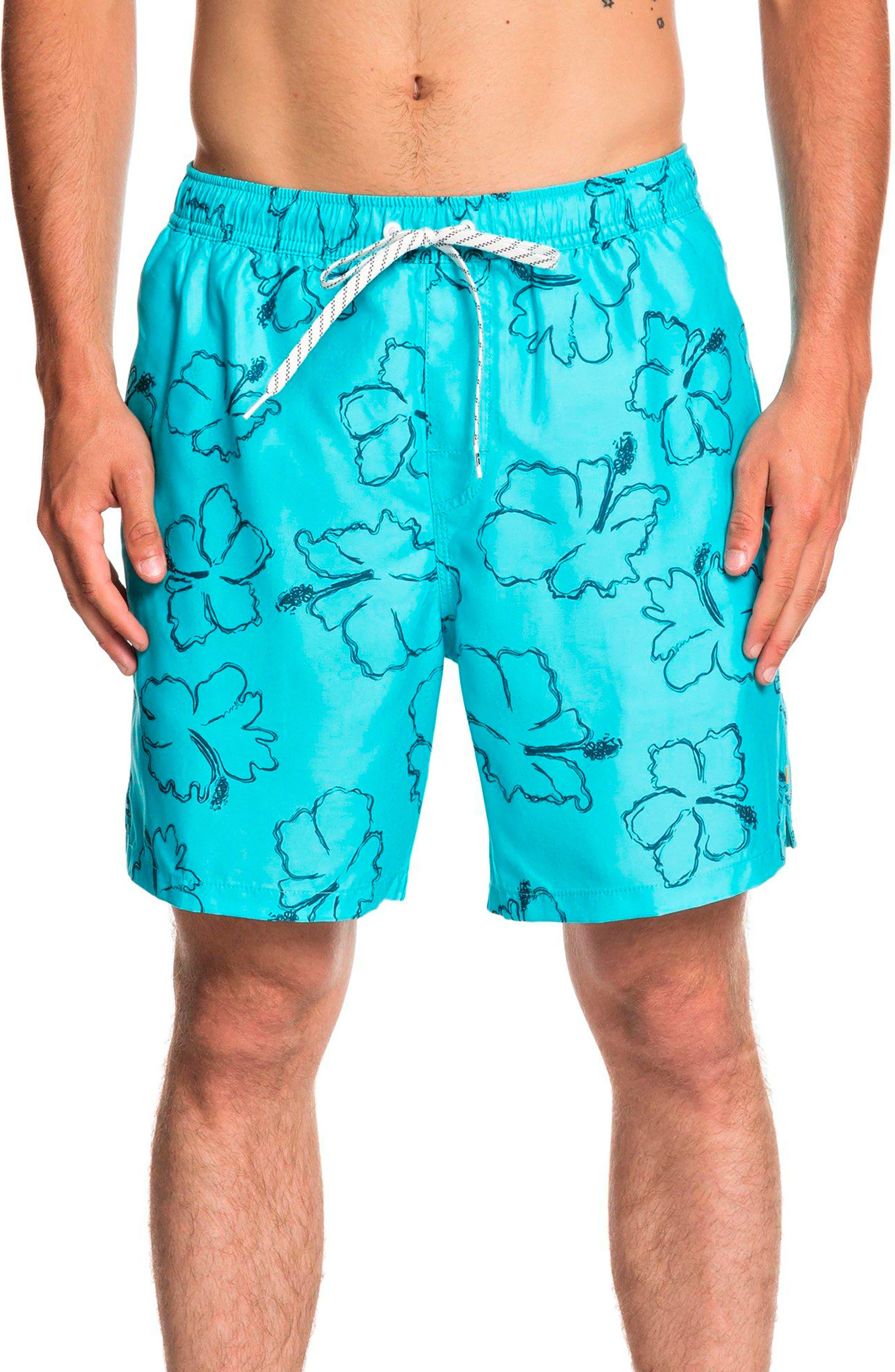 Quiksilver Waterman Collection Seasick Hilo Volley Swim Trunks, Blue/green