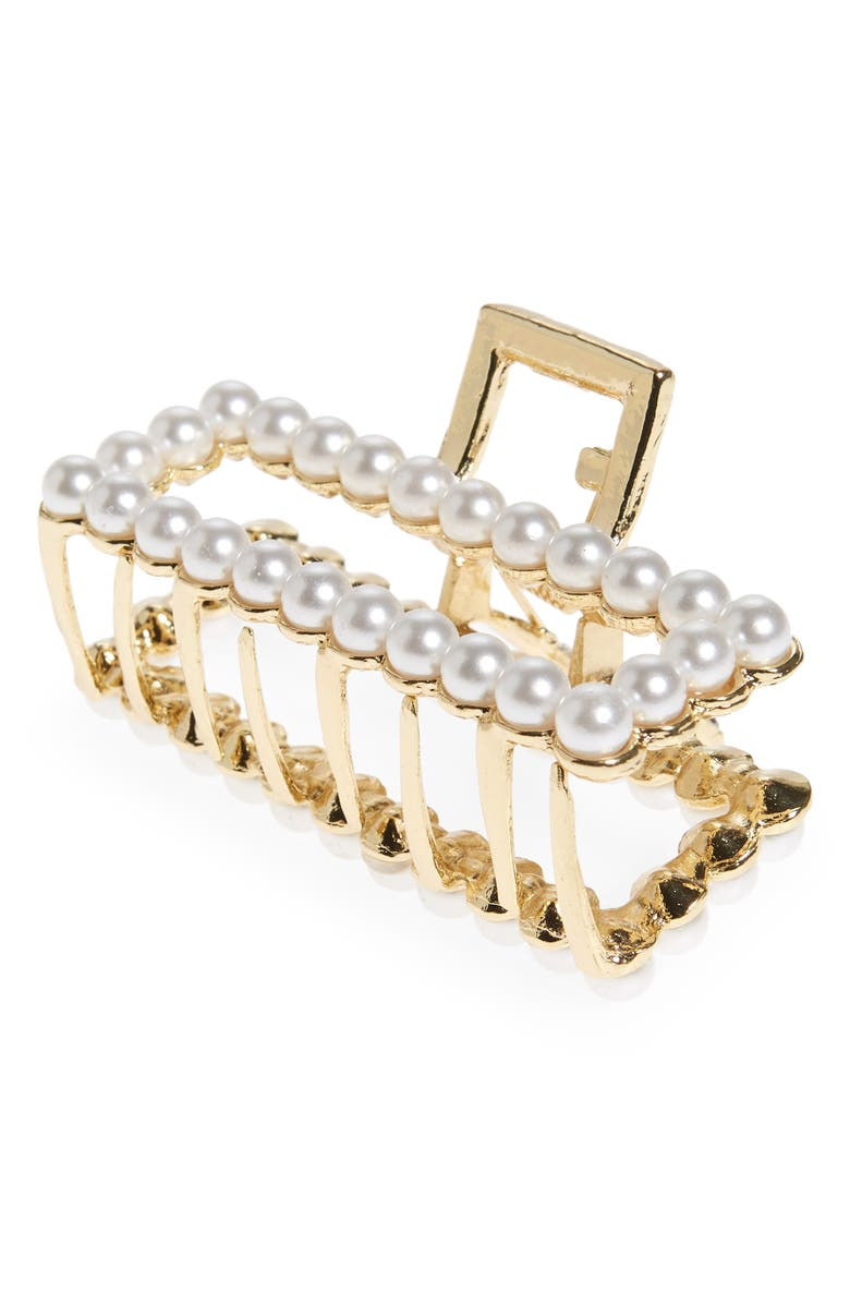 L. ERICKSON Imitation Pearl Rectangle Jaw Clip, Main, color, PEARL/ GOLD
