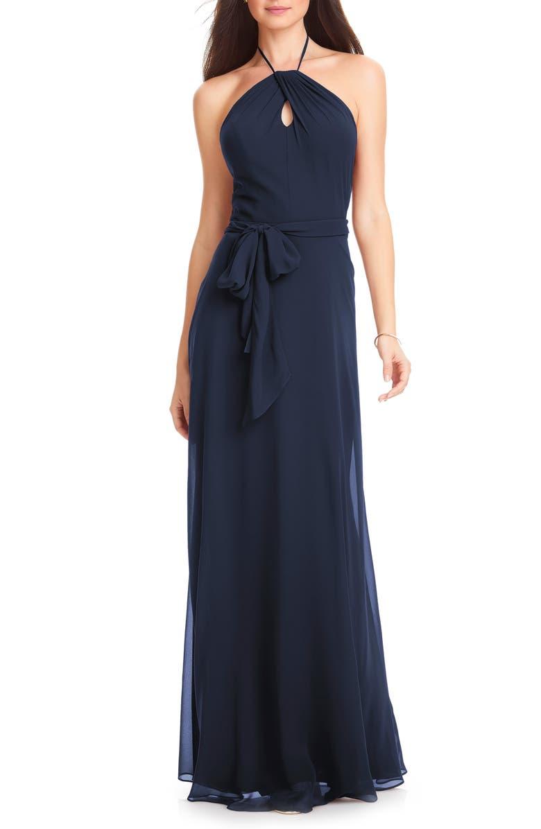 #LEVKOFF Chiffon Tie Waist Halter Gown, Main, color, NAVY