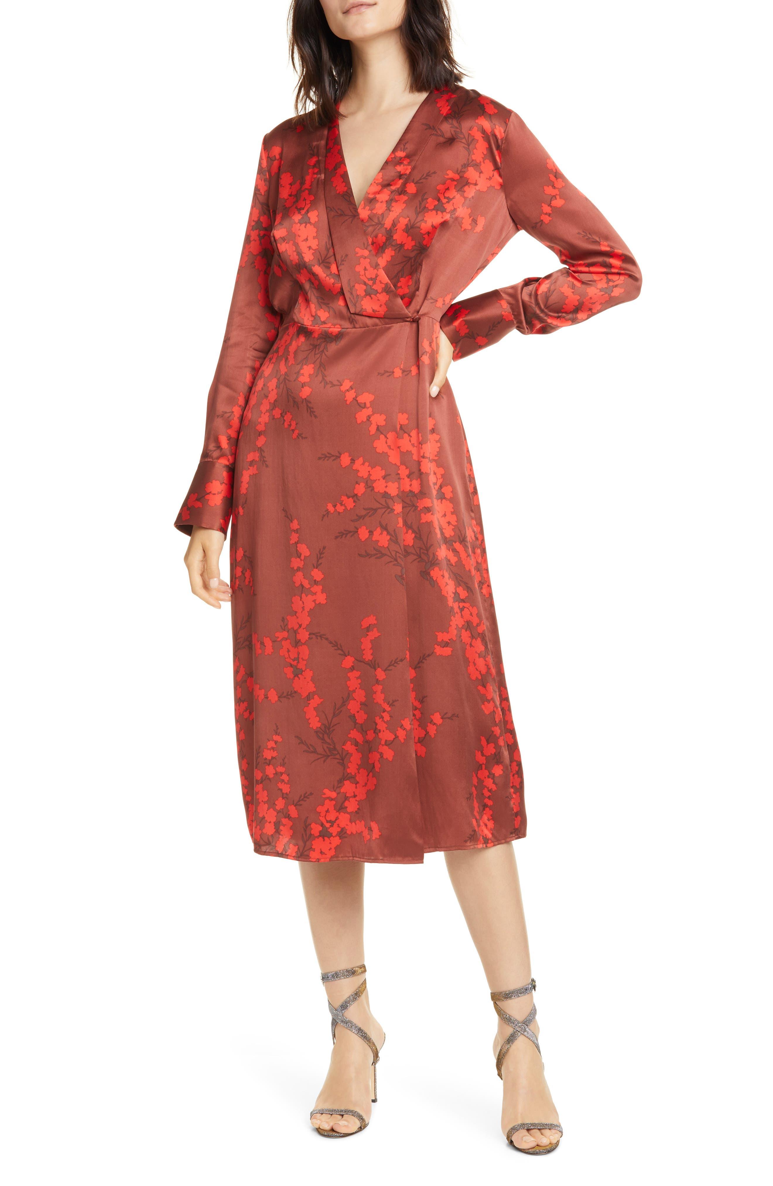 Image of Equipment Willow Faux Wrap Silk Midi Dress
