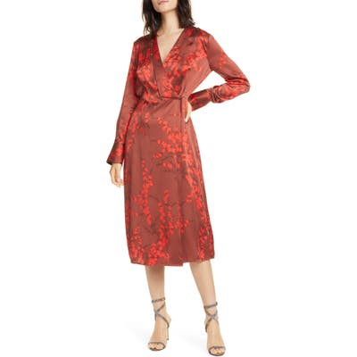 Equipment Willow Faux Wrap Silk Midi Dress, Red