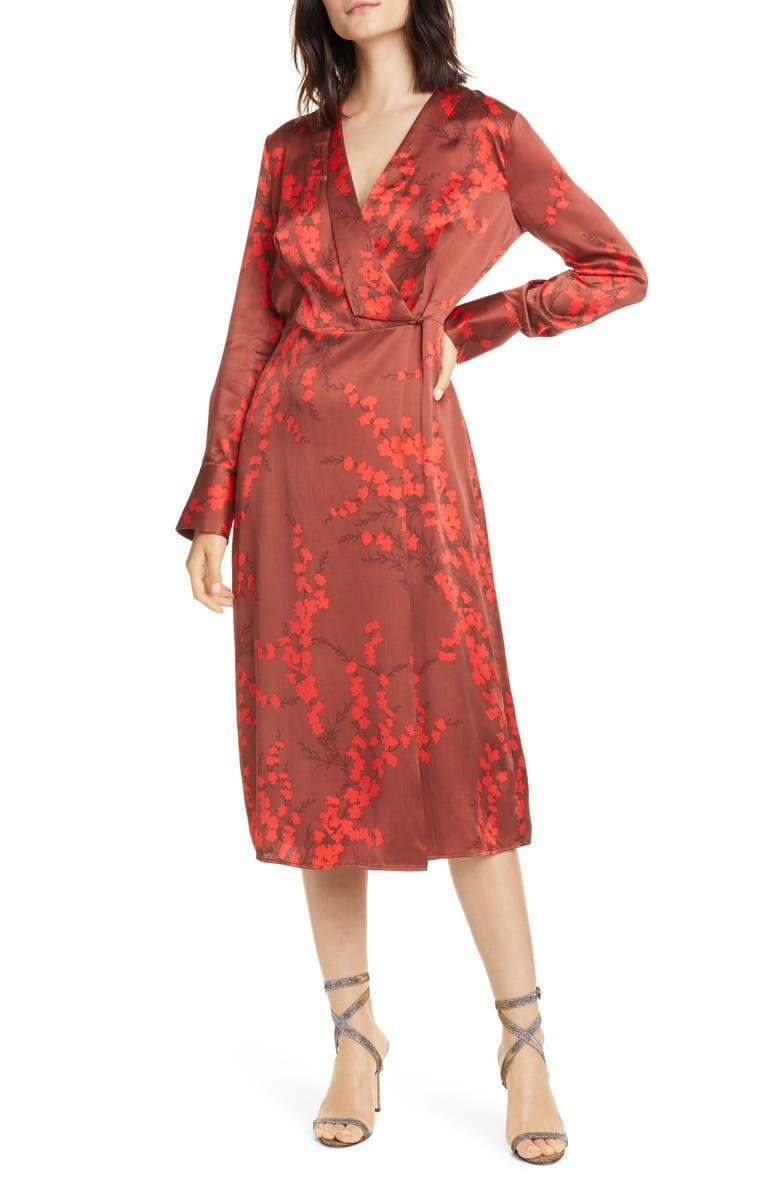 EQUIPMENT Willow Faux Wrap Silk Midi Dress, Main, color, SMOKE PAPRIKA MULTI