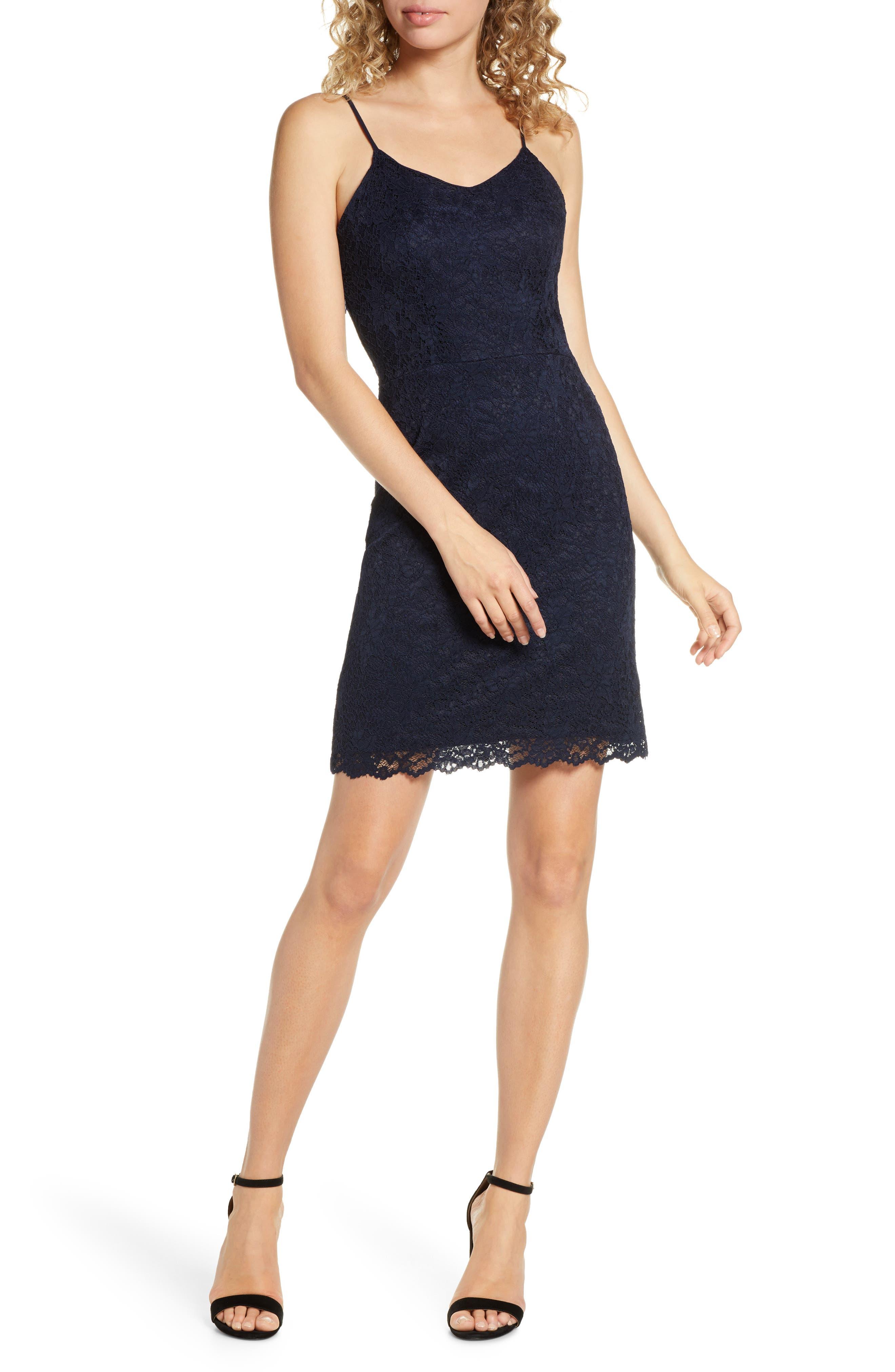 Fraiche By J Lace Tank Dress, Blue