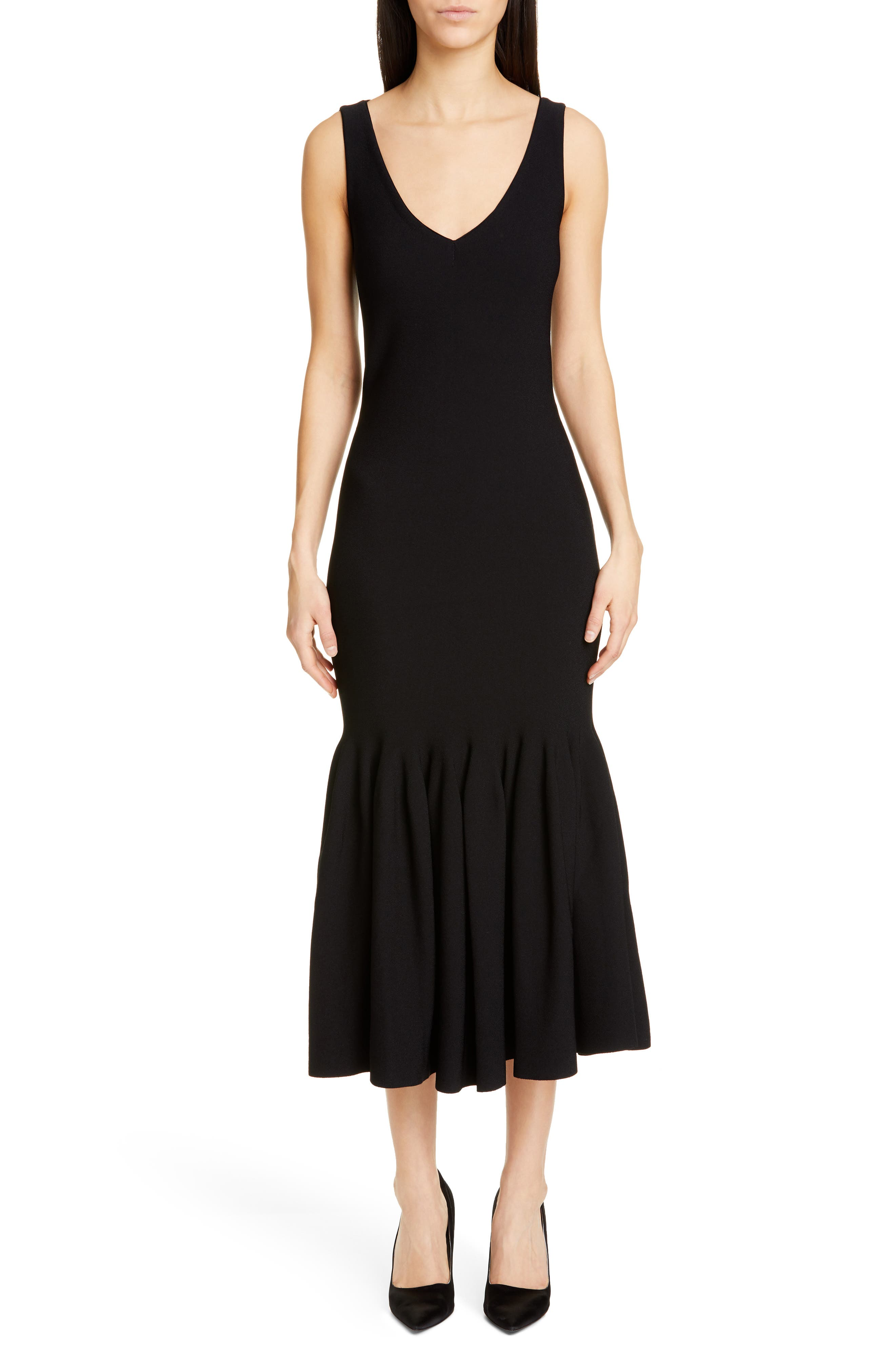 Stella Mccartney Flounce Hem Midi Dress, 48 IT - Black