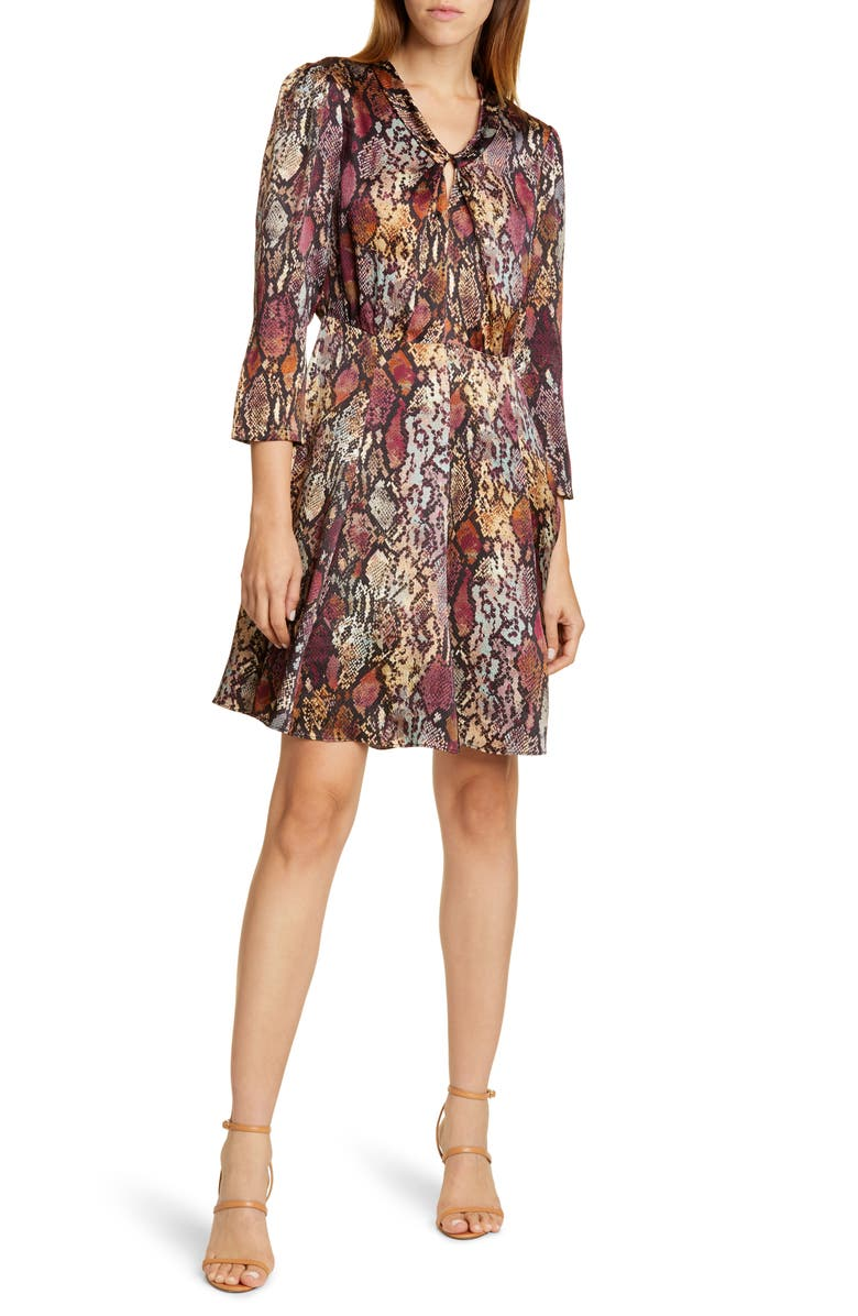 REBECCA TAYLOR Snake Print Silk Dress, Main, color, MULTI COMBO