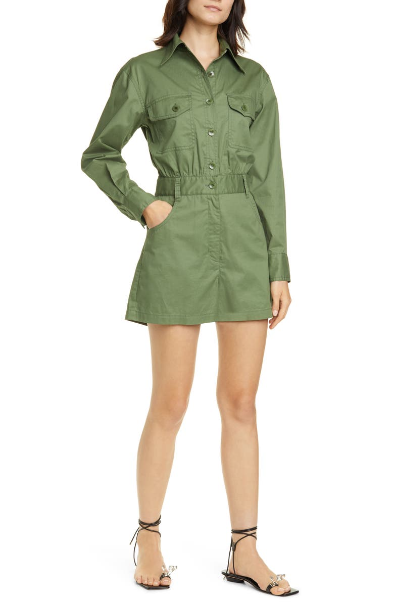 TIBI Featherweight Cotton Twill Romper, Main, color, OLIVE