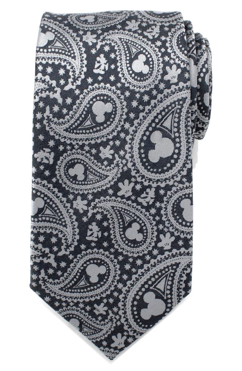 CUFFLINKS, INC. Mickey Mouse Paisley Silk Tie, Main, color, BLUE/ GREY