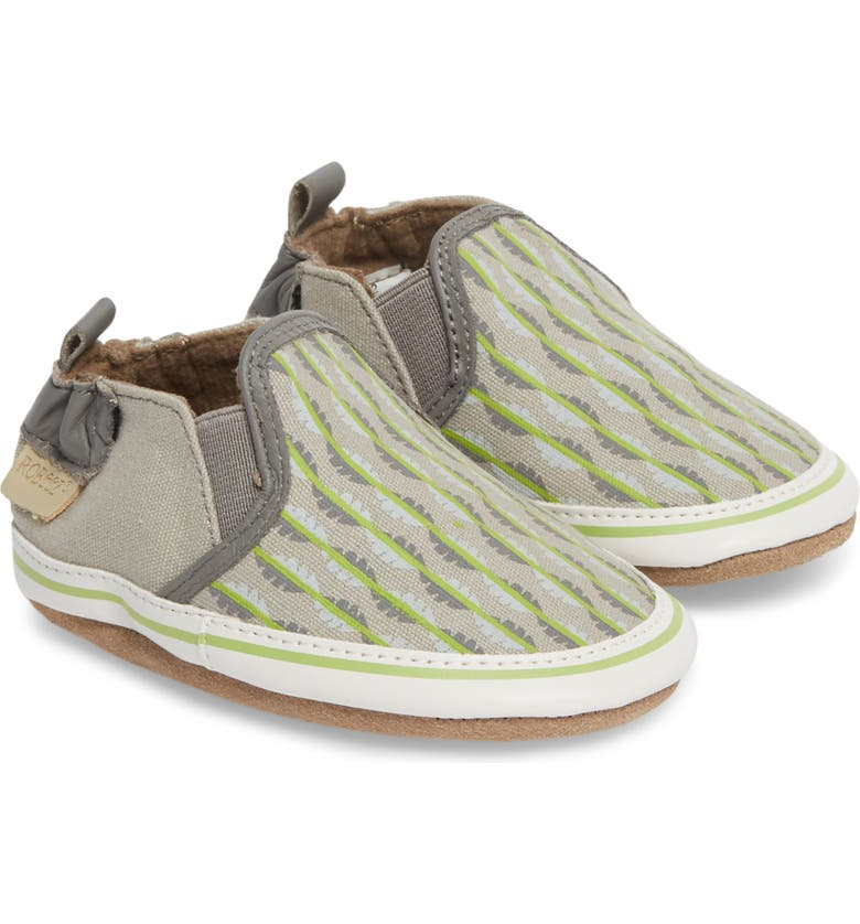 ROBEEZ<SUP>®</SUP> Liam Tropical Print Crib Shoe, Main, color, GREY
