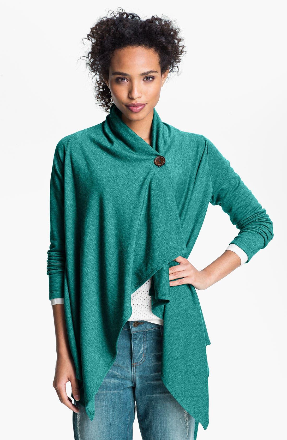 ,                             One-Button Fleece Wrap Cardigan,                             Main thumbnail 110, color,                             409