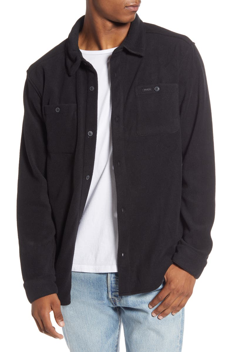 RVCA Uplift II Button-Up Fleece Shirt, Main, color, BLACK