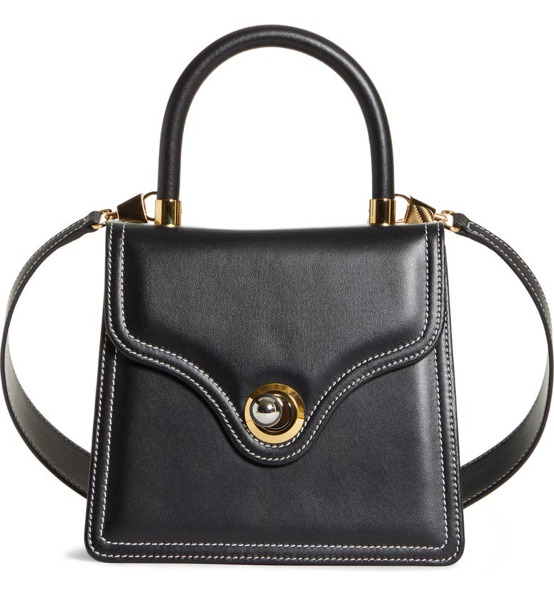 RATIO ET MOTUS Lady Leather Shoulder Bag, Main, color, BLACK