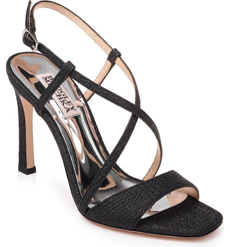 BADGLEY MISCHKA COLLECTION Badgley Mischka Ebiza Glitter Cross Strap Sandal, Main, color, BLACK GLITTER