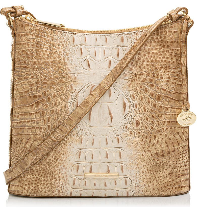 BRAHMIN Katie Croc Embossed Leather Crossbody Bag, Main, color, PRALINE OMBRE MELBOURNE