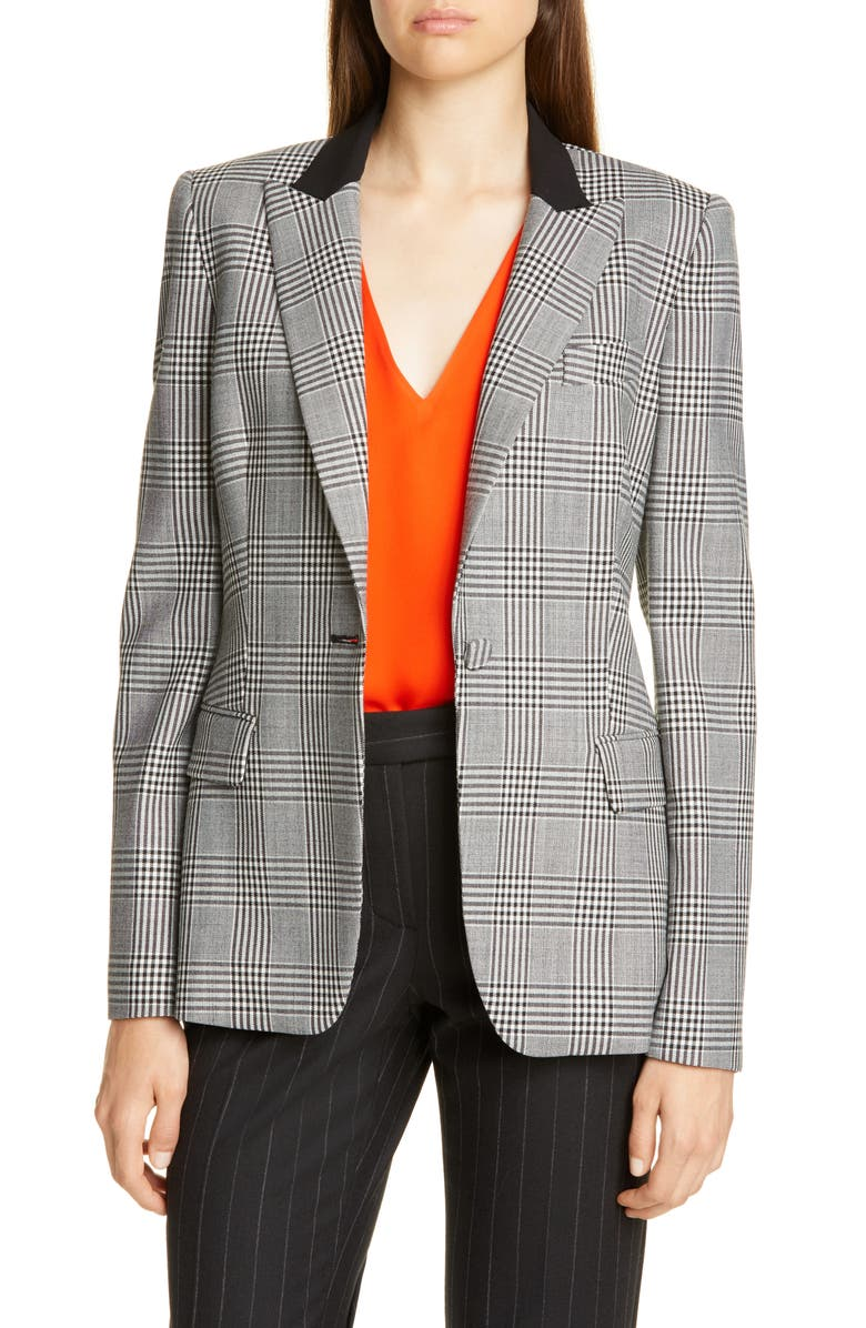 JUDITH & CHARLES Jude Plaid Jacket, Main, color, BLACK/ OFF WHITE