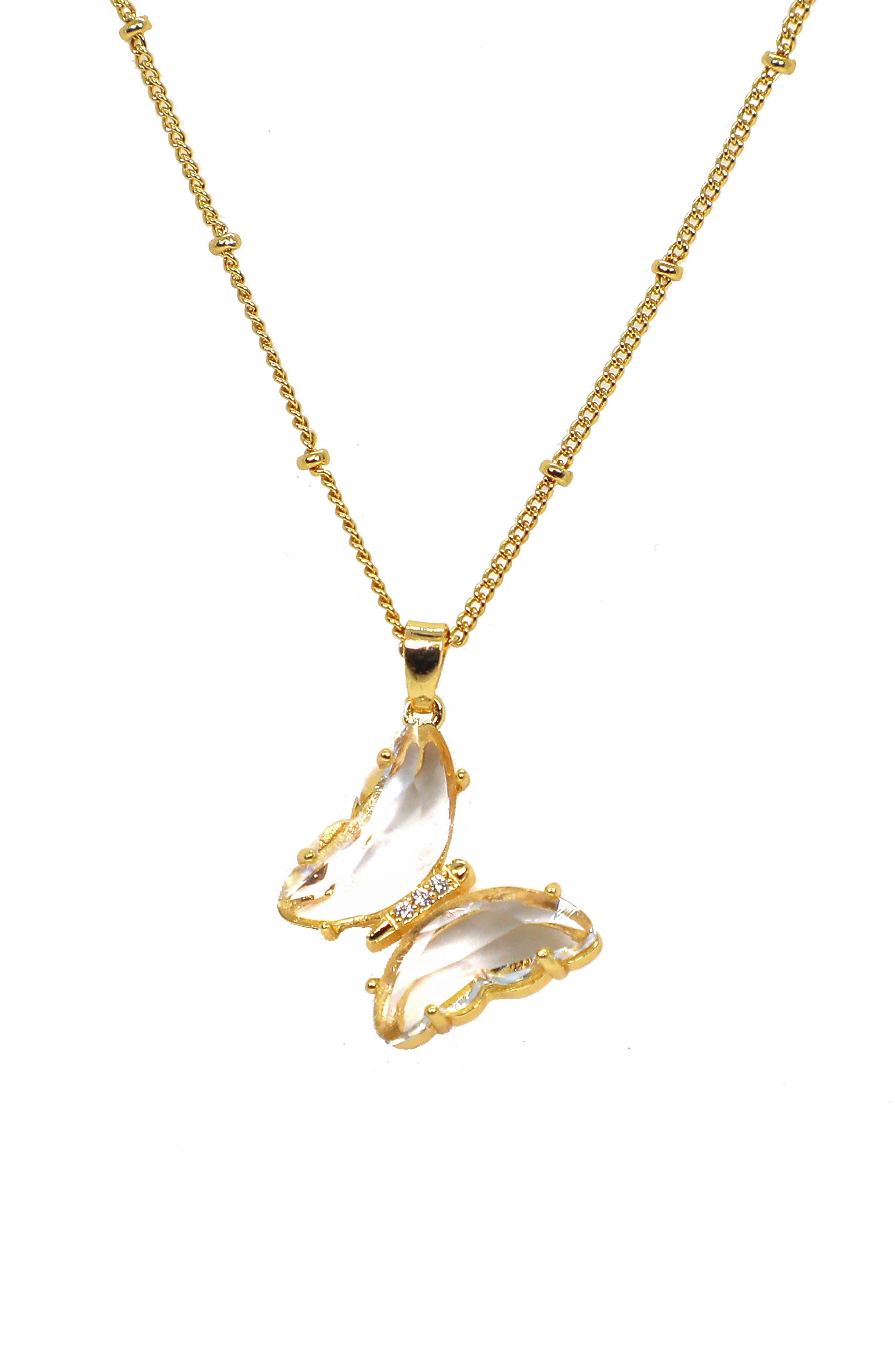 Crystal Butterfly Dot Station Pendant Necklace