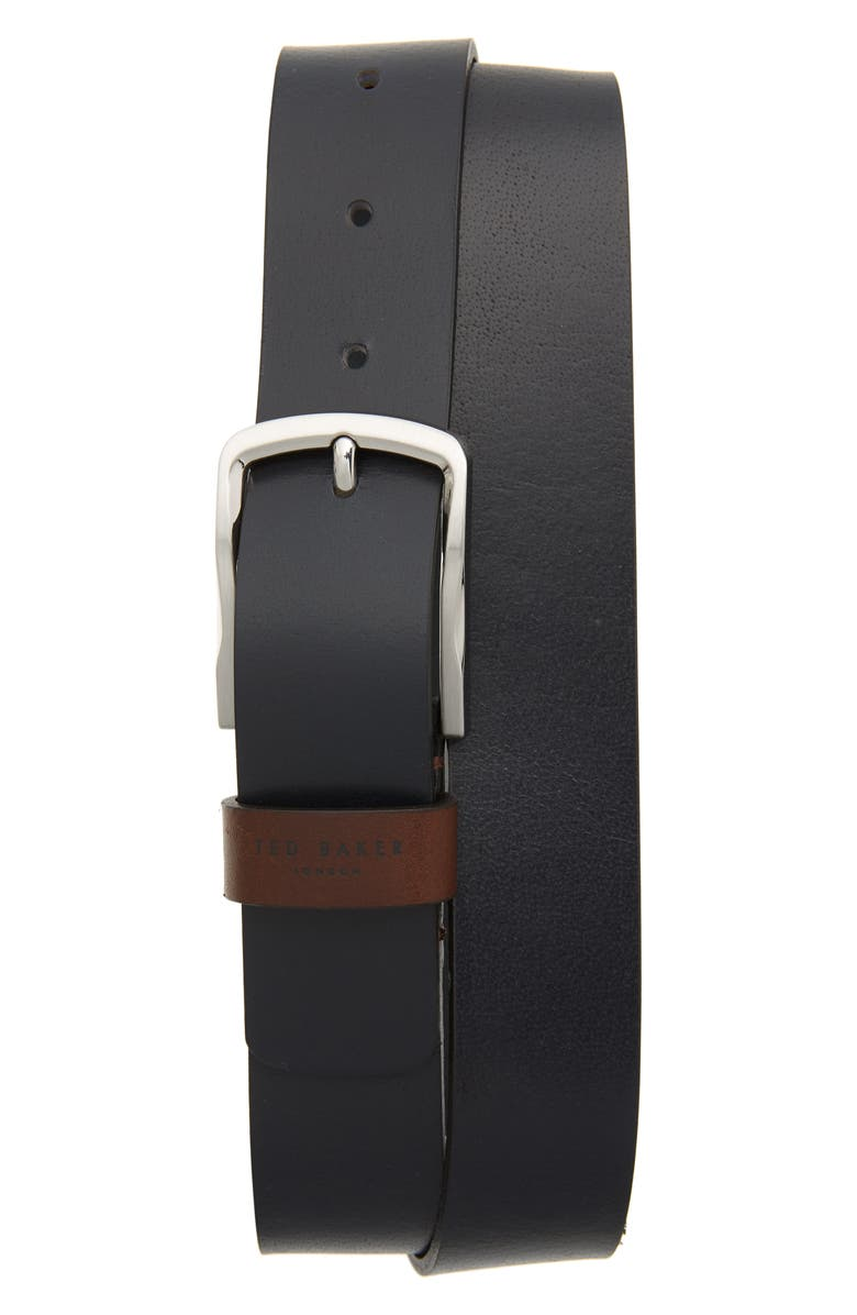 TED BAKER LONDON Parmar Leather Belt, Main, color, NAVY