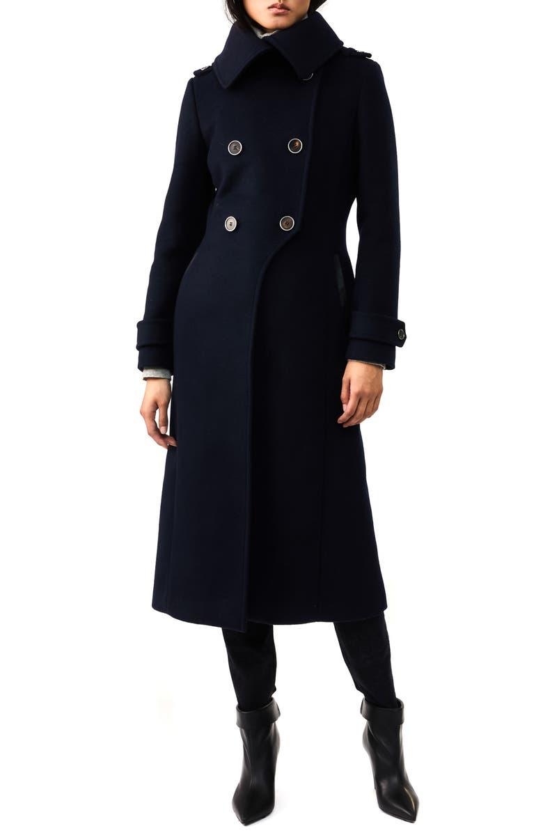 MACKAGE Elodie-R Double Breasted Wool Blend Coat, Main, color, NAVY