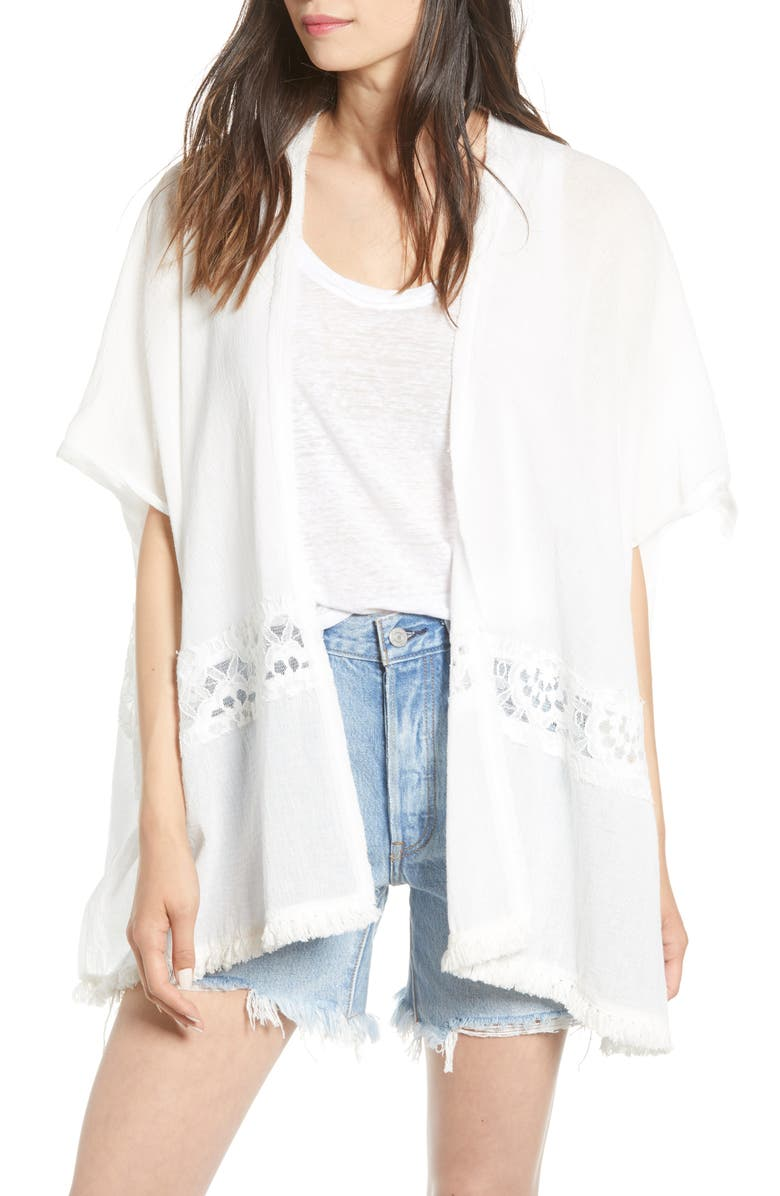 BISHOP + YOUNG Calypso Lace Detail Elbow Sleeve Cotton Jacket, Main, color, WHITE