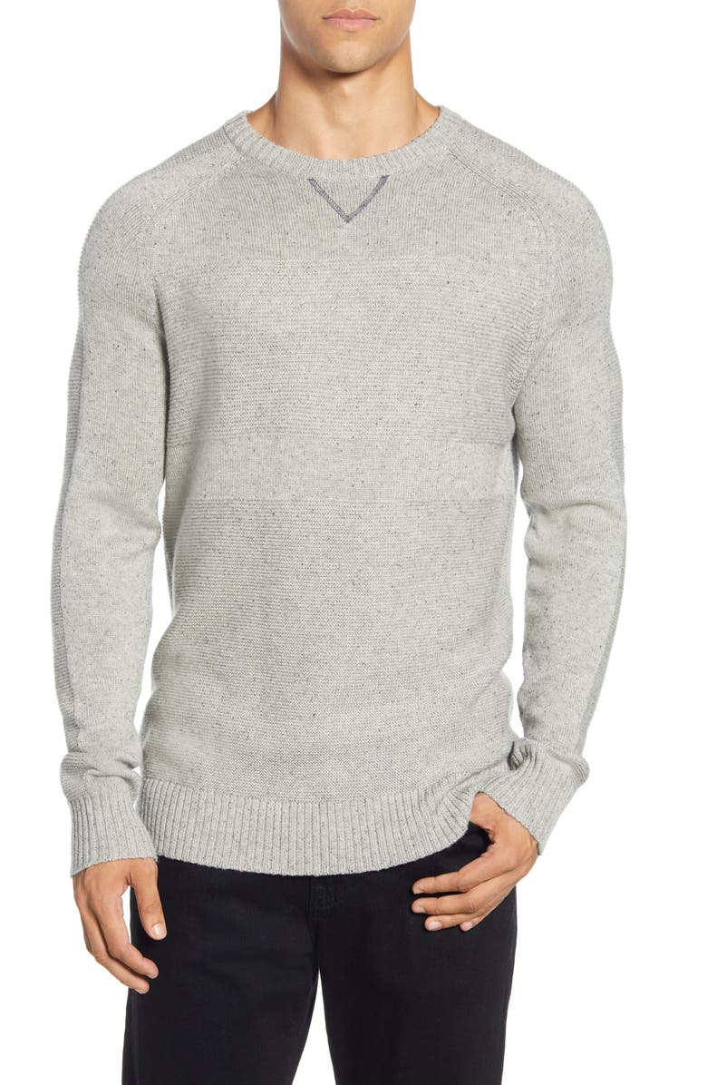SMARTWOOL Ripple Ridge Crewneck Sweater, Main, color, LIGHT GREY DONEGAL