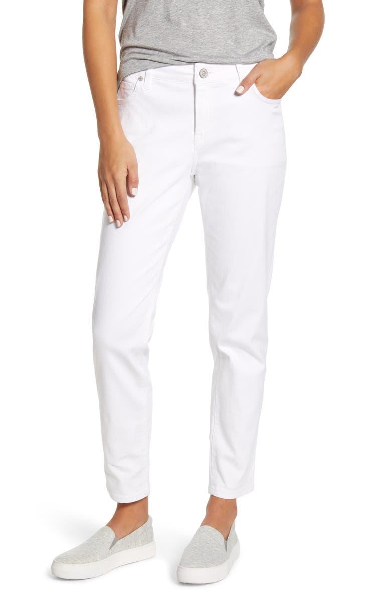 TOMMY BAHAMA Ella Twill Slim Boyfriend White Jeans, Main, color, 100