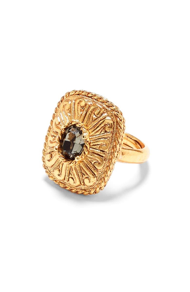 OSCAR DE LA RENTA Runway Square Crystal Ring, Main, color, BLACK DIAMOND