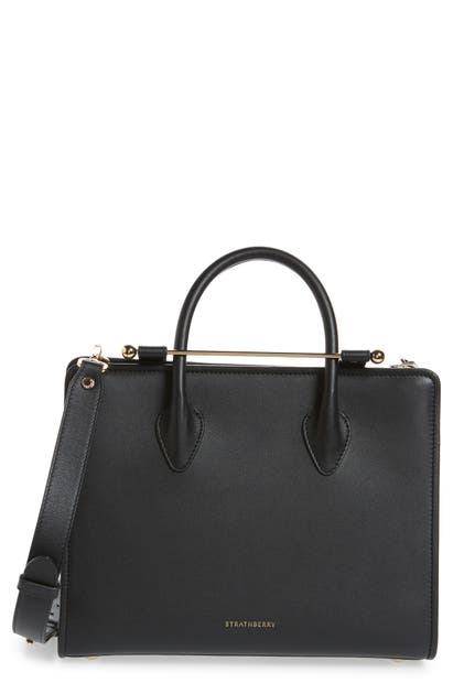 Strathberry Midi Calfskin Leather Tote In Black