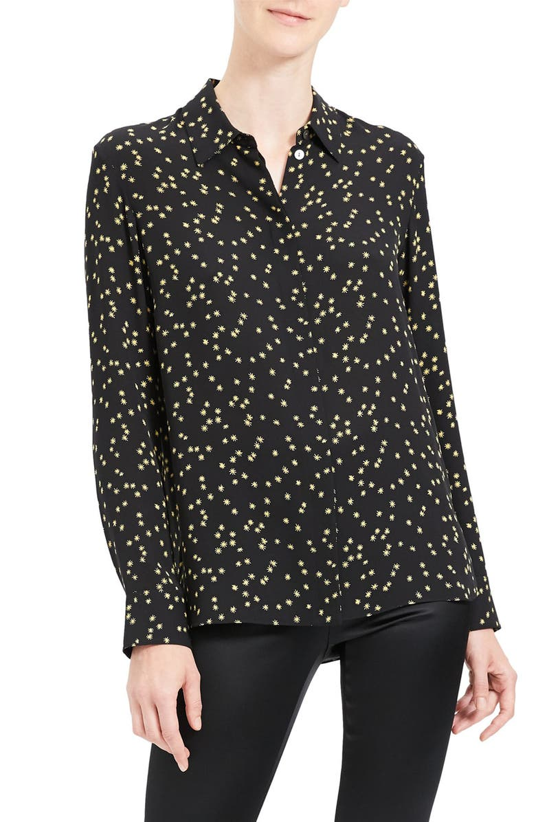 THEORY Classic Silk Button-Up Top, Main, color, BLACK MULTI