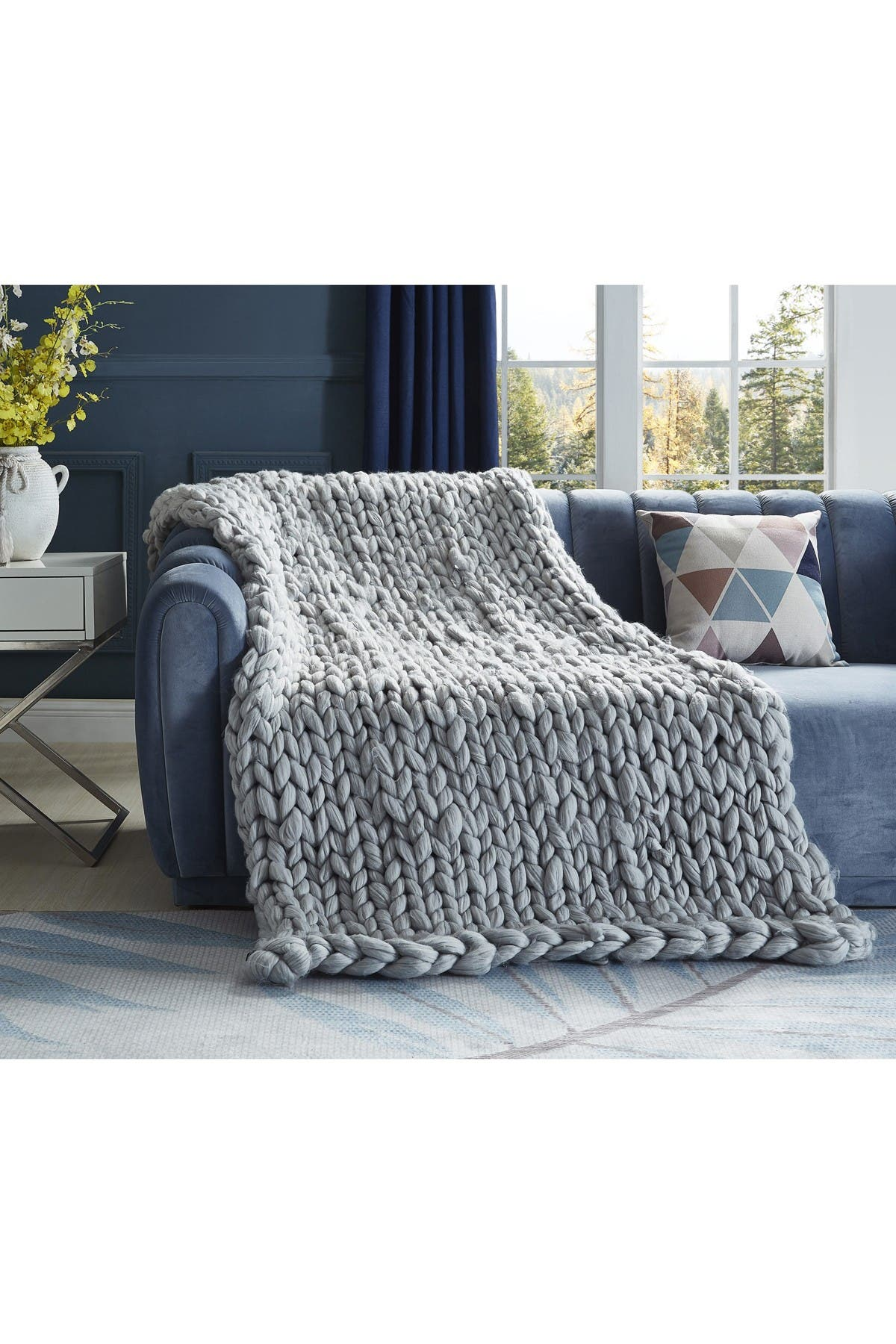 """Image of Inspired Home Cozy Tyme Mantisa Chunky Knit Throw 50"""" x 70"""" - Light Grey"""