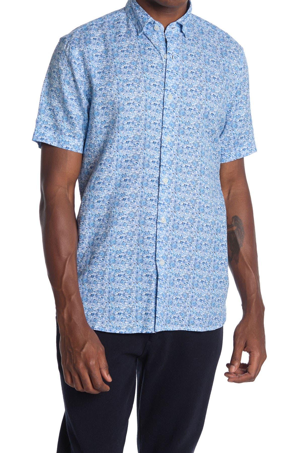 Image of Toscano Short Sleeve Floral Printed Linen Blend Shirt
