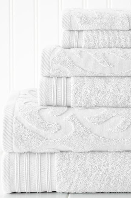 Image of Modern Threads Jacquard Medallion Swirl Solid 6-Piece Towel Set - White