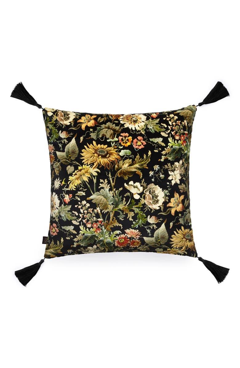 HOUSE OF HACKNEY Avalon Floral Velveteen Accent Pillow, Main, color, NOIR