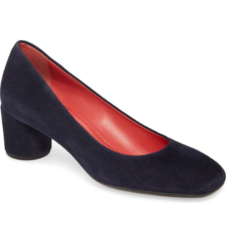 PAS DE ROUGE Chantel Square Toe Pump, Main, color, NAVY SUEDE