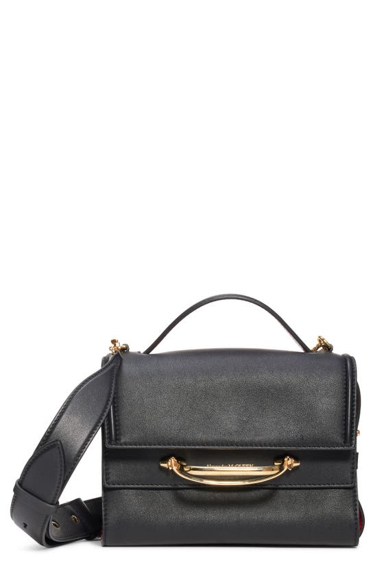 Alexander Mcqueen Small Double Flap Leather Shoulder Bag In Black/ Red