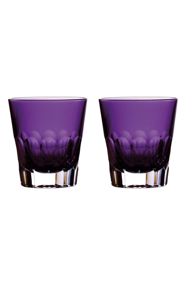WATERFORD Jeff Leatham Icon Set of 2 Lead Crystal Double Old Fashioned Glasses, Main, color, AMETHYST