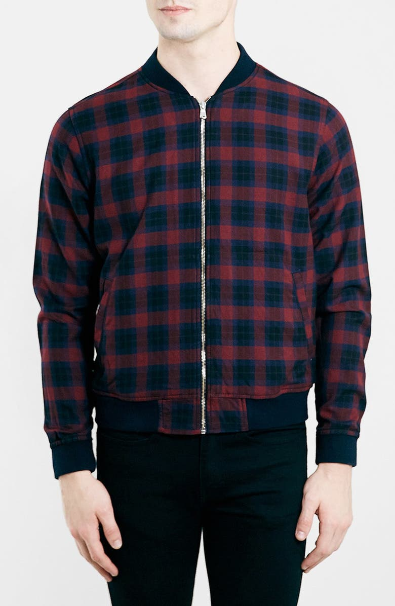 TOPMAN Check Bomber Jacket, Main, color, 930