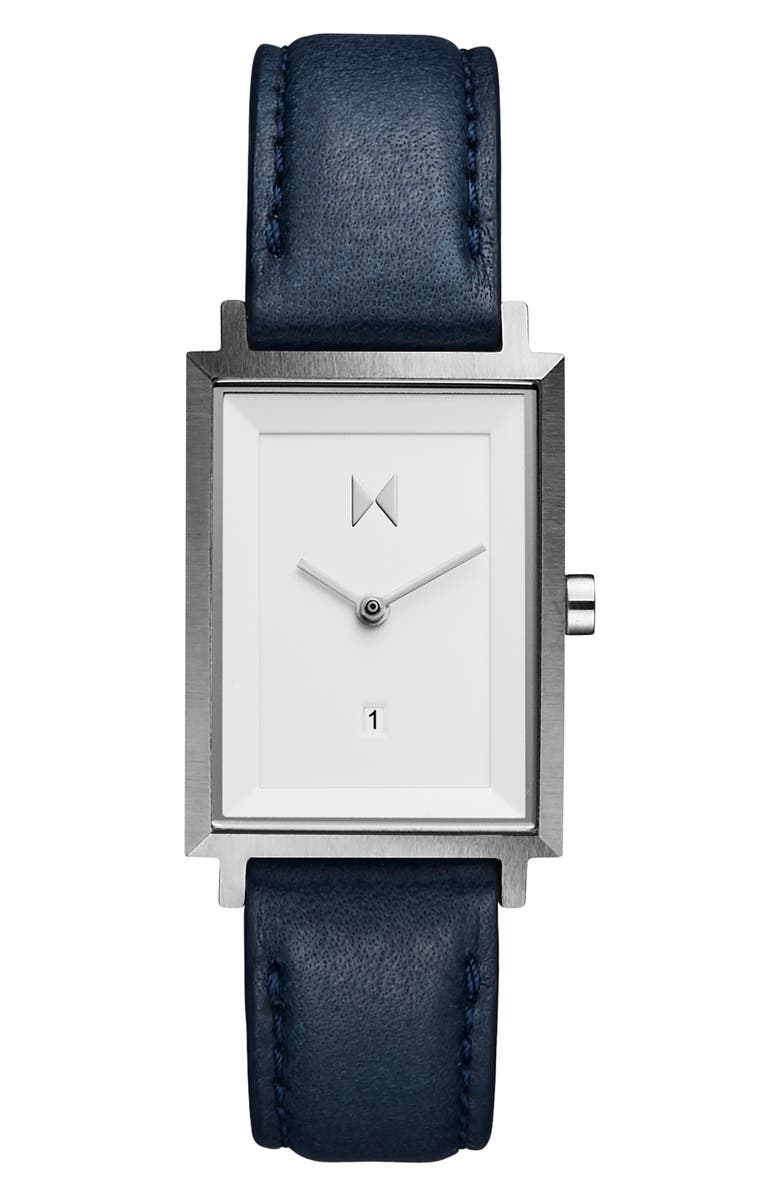 MVMT Signature Square Leather Strap Watch, 24mm, Main, color, NAVY/ WHITE/ SILVER