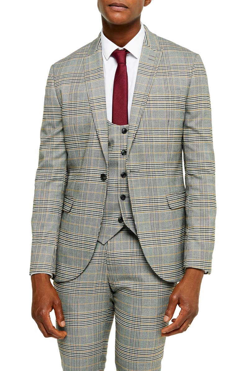 TOPMAN Slim Fit Plaid Peaked Lapel Suit Coat, Main, color, GREY