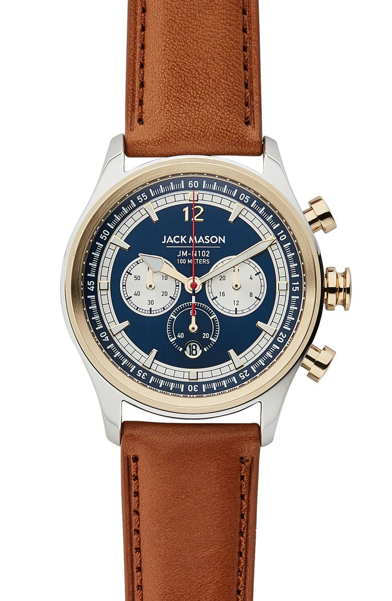 JACK MASON Nautical Chronograph Leather Strap Watch, 42mm, Main, color, 210