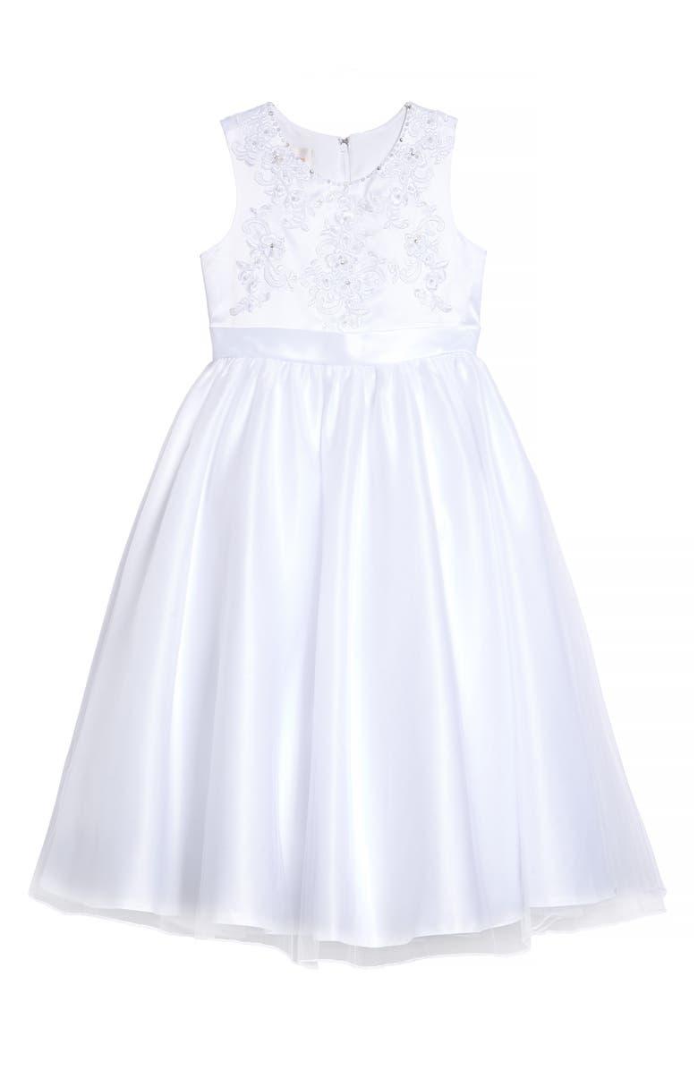 LAUREN MARIE Beaded Bodice Satin & Tulle Communion Dress, Main, color, WHITE