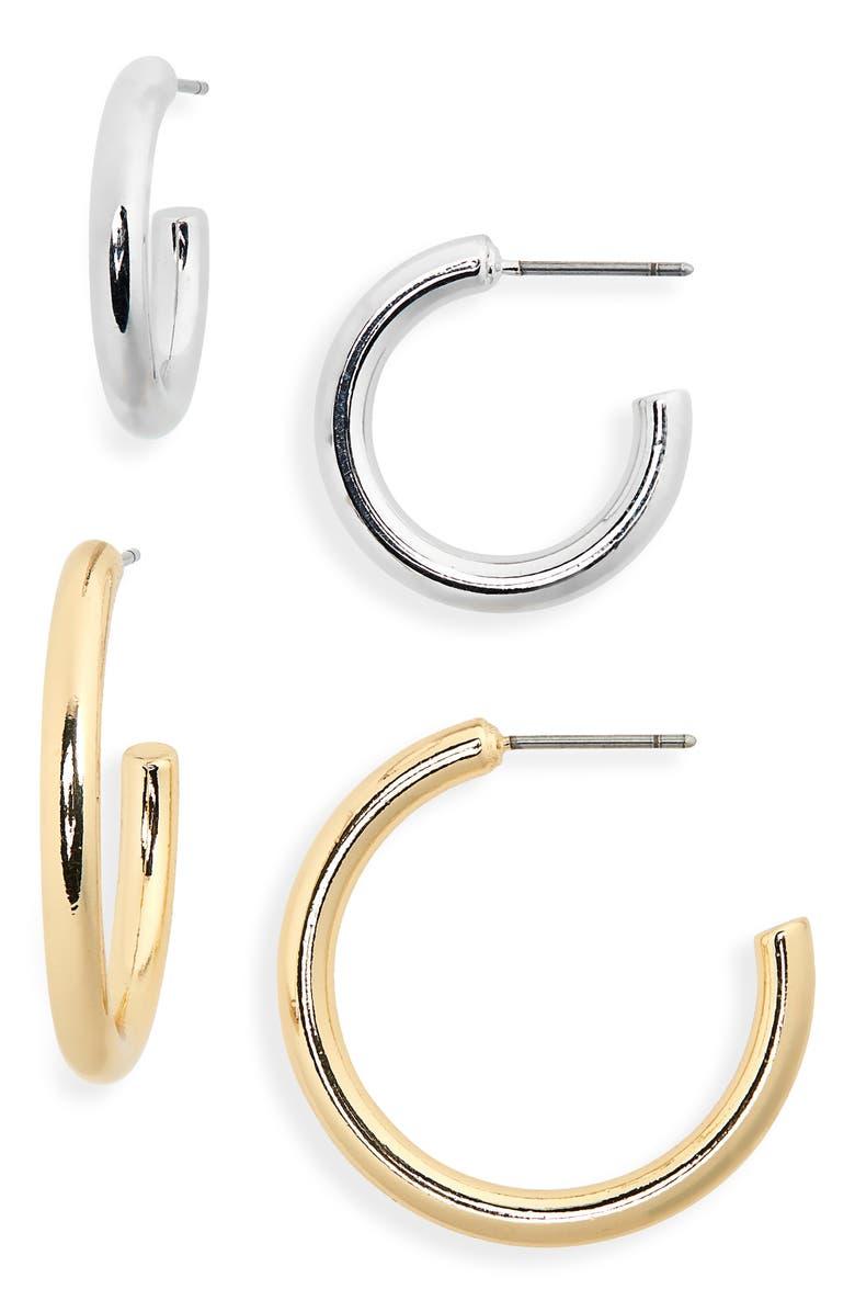 Halogen Set Of 2 Everyday Hoop Earrings