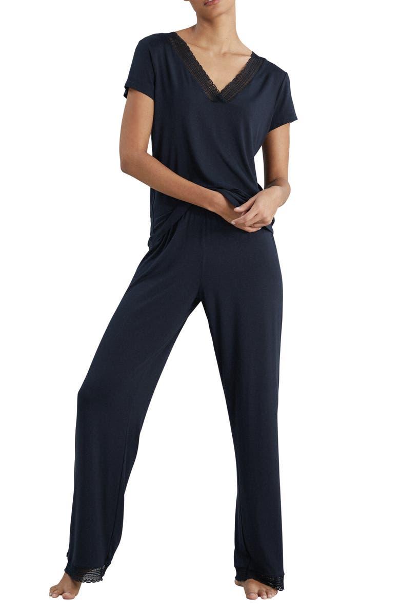 THE WHITE COMPANY Lace Trim Knit Pajamas, Main, color, 400