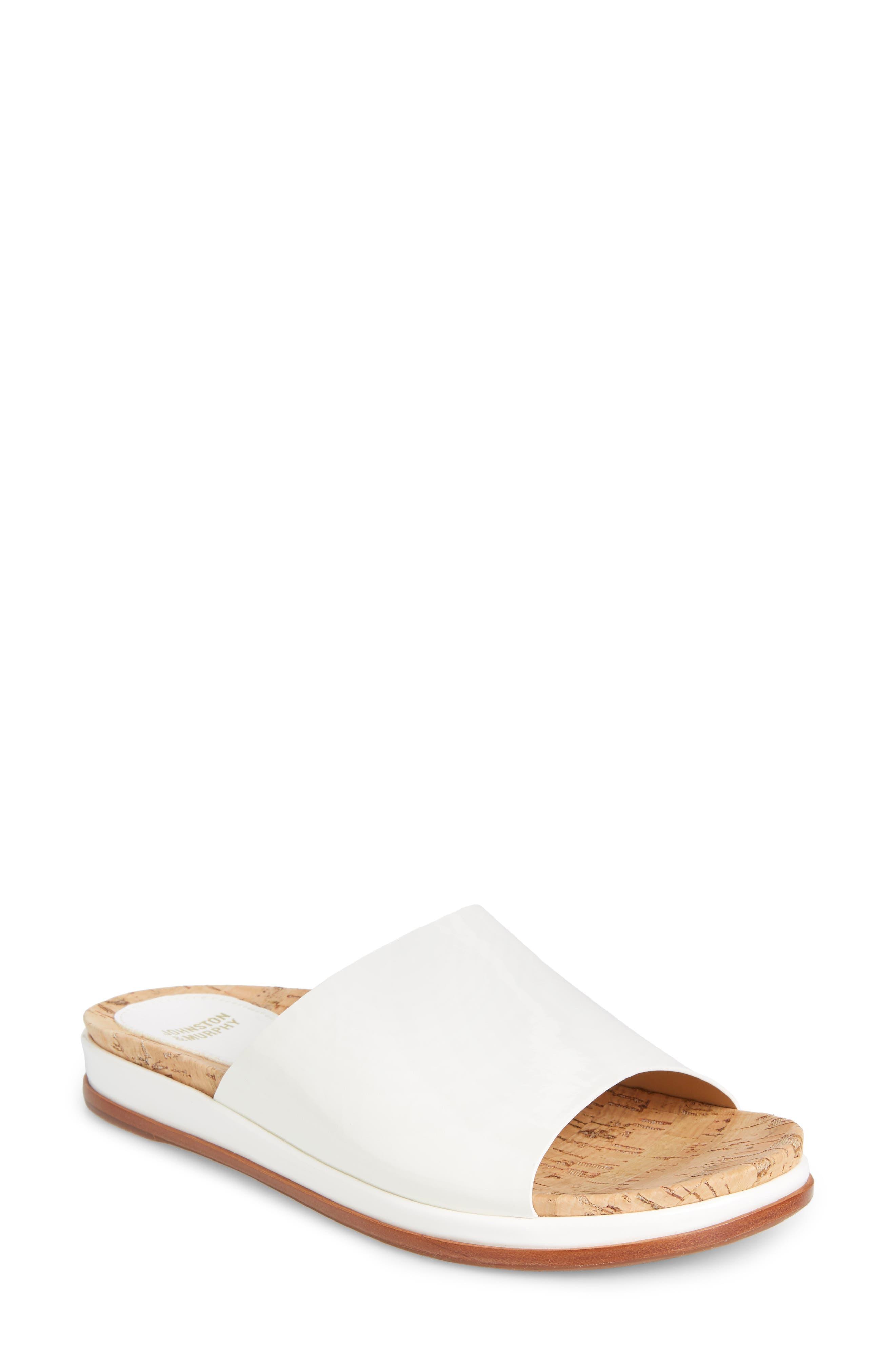 Johnston & Murphy Jenny Slide Sandal, White